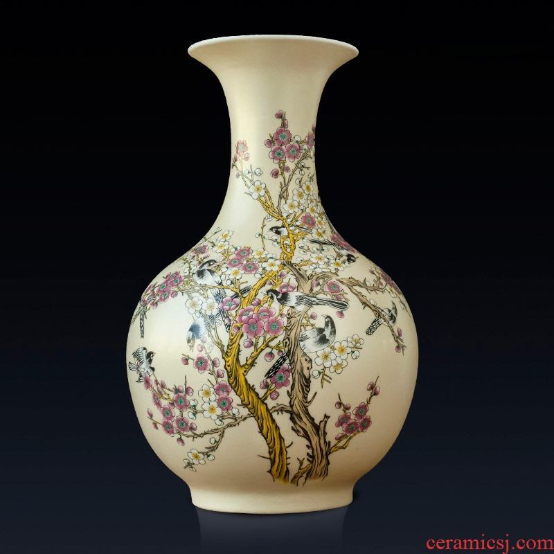 Rice lu beaming Chinese vase, jingdezhen ceramic furnishing articles modern home flower arrangement sitting room adornment
