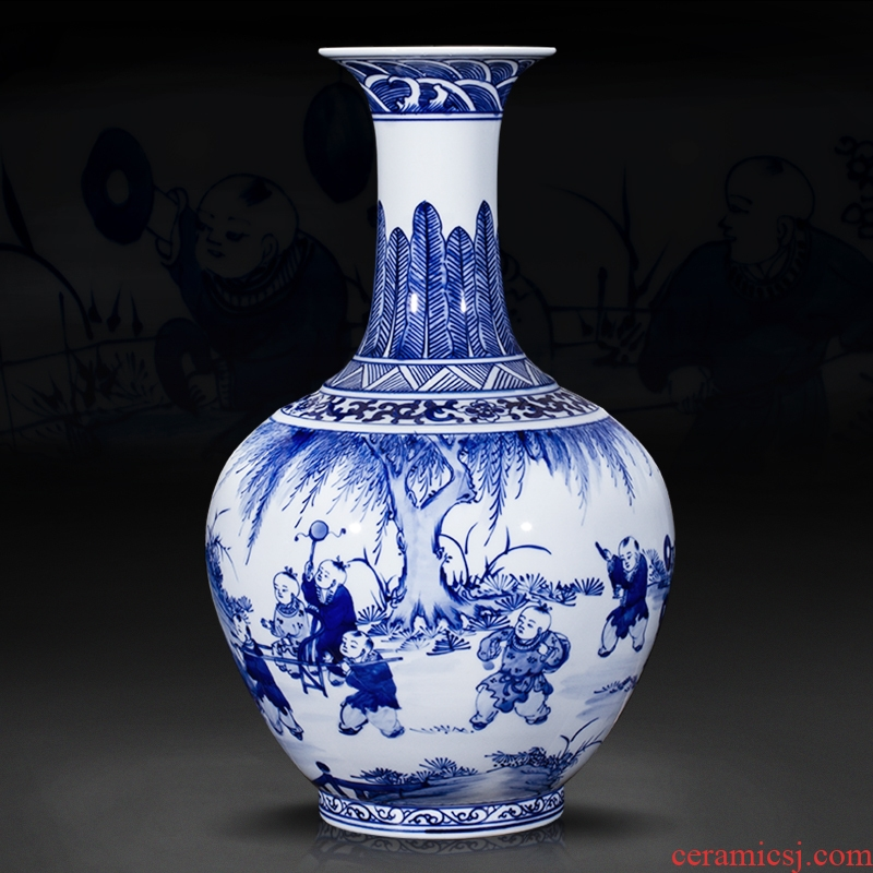 Jingdezhen ceramics furnishing articles antique blue and white porcelain vases, new Chinese style household living room TV ark adornment arranging flowers