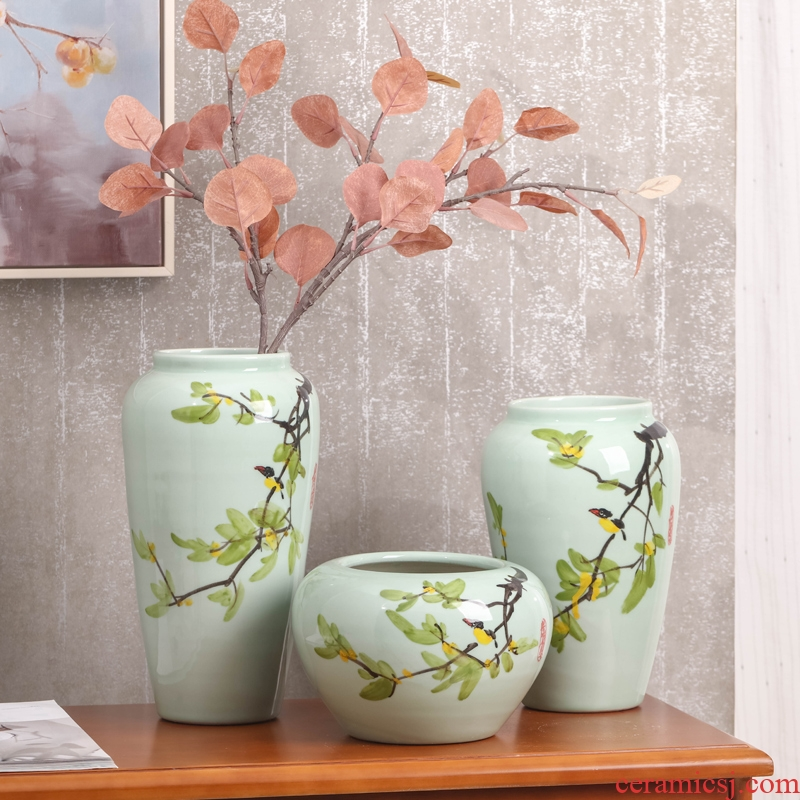 Vase three - piece hand - made vases, I and contracted sitting room decorate household ceramics Vase furnishing articles contracted floral outraged