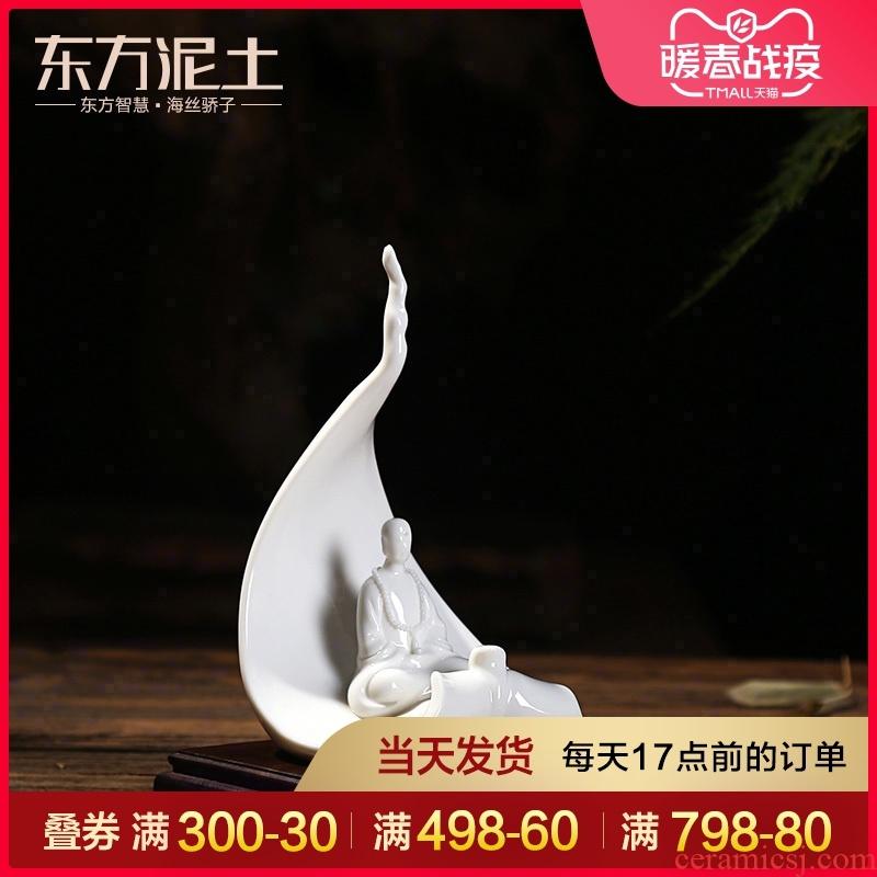 The east mud dehua white porcelain art creative zen ceramic arts and crafts decorative furnishing articles/a bodhi leaf