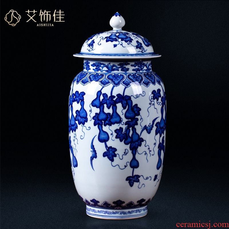 Jingdezhen ceramic general porcelain jar with cover archaize gourd storage tank Chinese wine sitting room adornment is placed