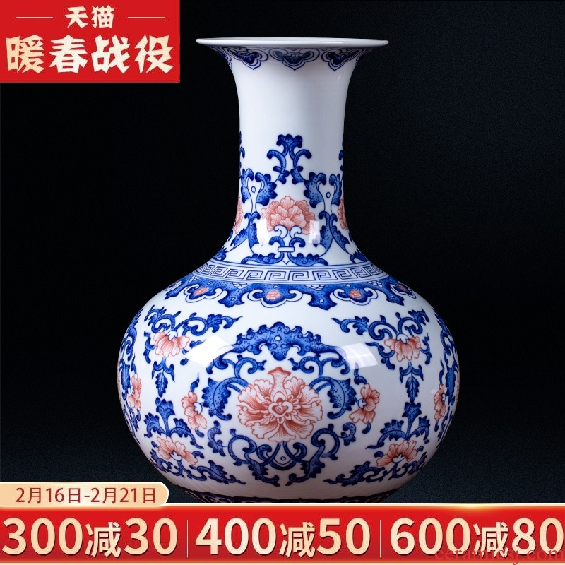 Jingdezhen ceramics vase hand - made archaize furnishing articles of blue and white porcelain flower arrangement of new Chinese style living room decoration gifts
