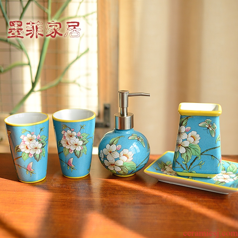 New Chinese style set ceramic sanitary ware has five American bathroom wash gargle things version into gifts decorations furnishing articles