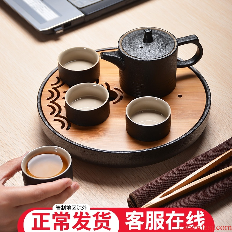 Black pottery tea set suit Japanese household contracted and I ceramic dry tea tray 4 people of a complete set of kung fu tea cups