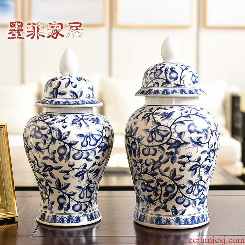 New Chinese style originality jingdezhen ceramic furnishing articles sitting room porch receive blue and white porcelain jar of TV ark, wine accessories