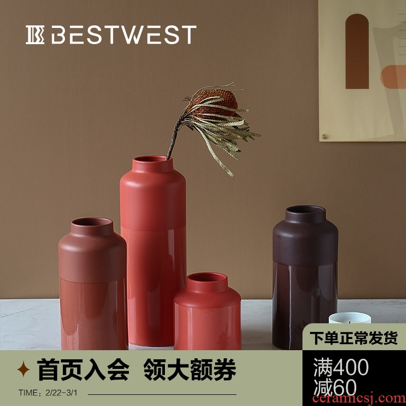 BEST WEST Nordic designer ceramic vase furnishing articles example room living room table dry flower vases, creative