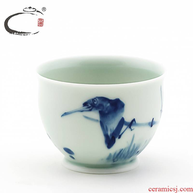 And auspicious blue - And - white proud of jingdezhen ceramic hand - made master kung fu tea cup sample tea cup cup tea bowl
