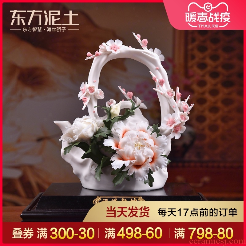 Oriental Chinese style living room soil flower decoration ceramics furnishing articles housewarming gift/f man qiankun its arts and crafts
