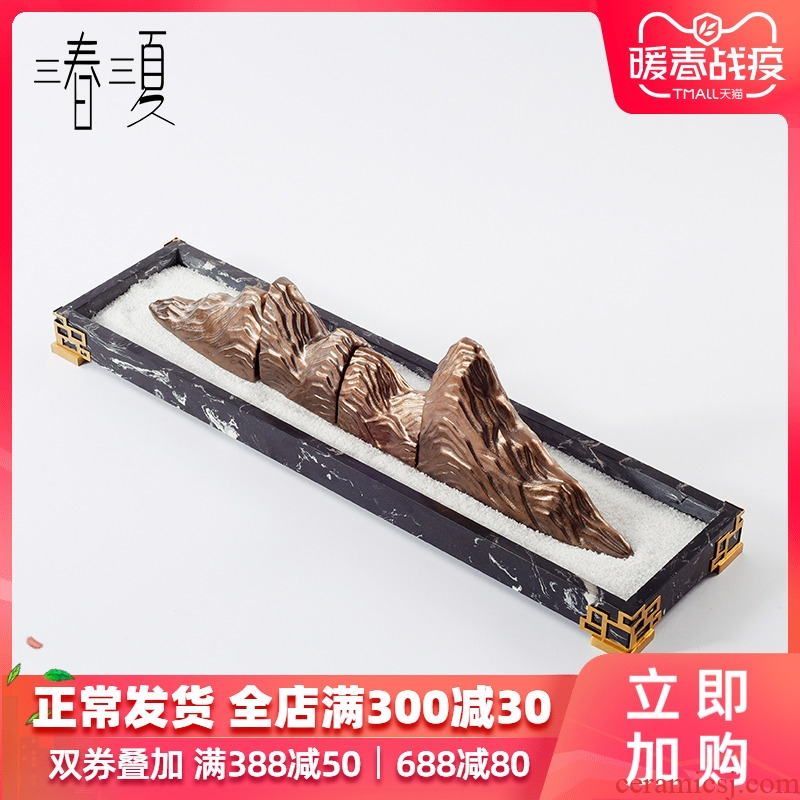 New Chinese style ceramic taihu rockery decoration marble plate of the sitting room the study zen tea room dry landscape furnishing articles