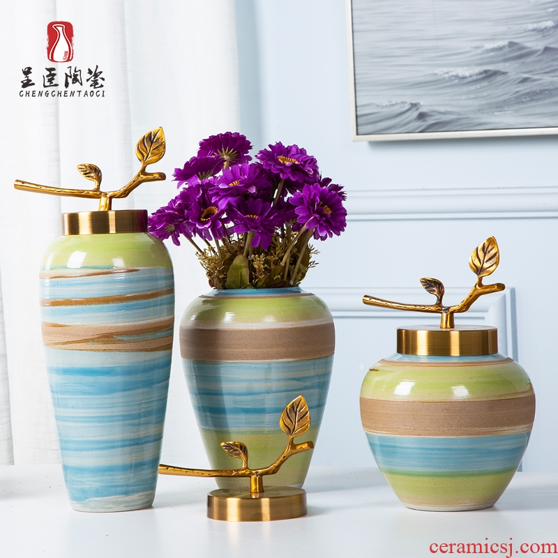 Jingdezhen porcelain furnishing articles sitting room tea table wine table decoration vase color ceramic bottle of flower arranging art suits for