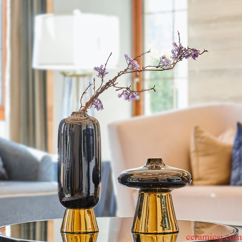 European ikebana ceramic vases, dried flowers sitting room place example room TV cabinet table household adornment art