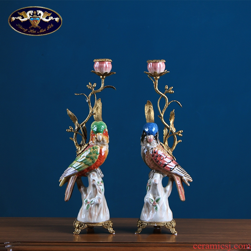 European parrot candlestick retro American creative home furnishing articles soft ceramic based cup handicraft ornament