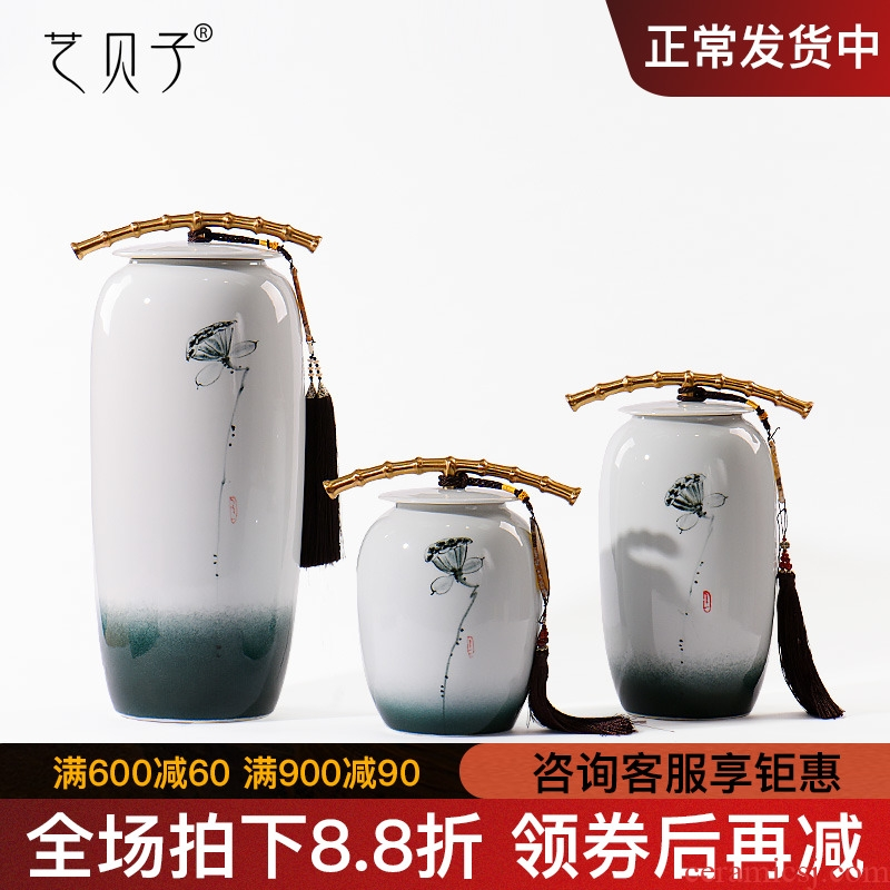 Modern new Chinese style ceramic handicraft furnishing articles storage tank vessel example room sitting room classical soft adornment ornament