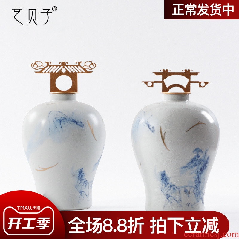 Blue and white porcelain art BeiZi new Chinese zen home furnishing articles sample sitting room porch study window decorations