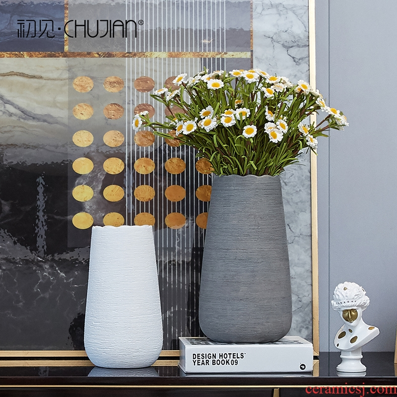 I and contracted ceramic vase furnishing articles sitting room creative flower arranging dried flower Nordic small pure and fresh household table decorations