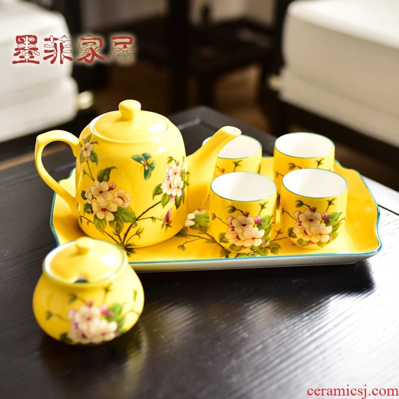 American creative furnishing articles household soft adornment sitting room, dining - room ceramic tea set tea table version into gift set