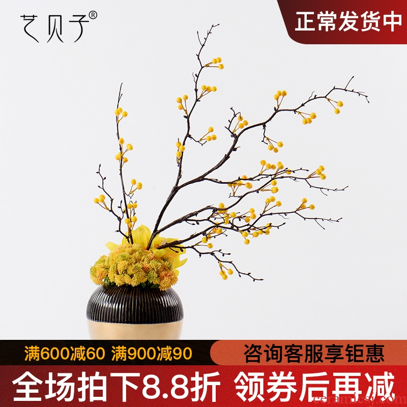 New Chinese style overall light floral key-2 luxury ceramic vases, yellow peach blossom put bonsai soft outfit example room estate home furnishing articles