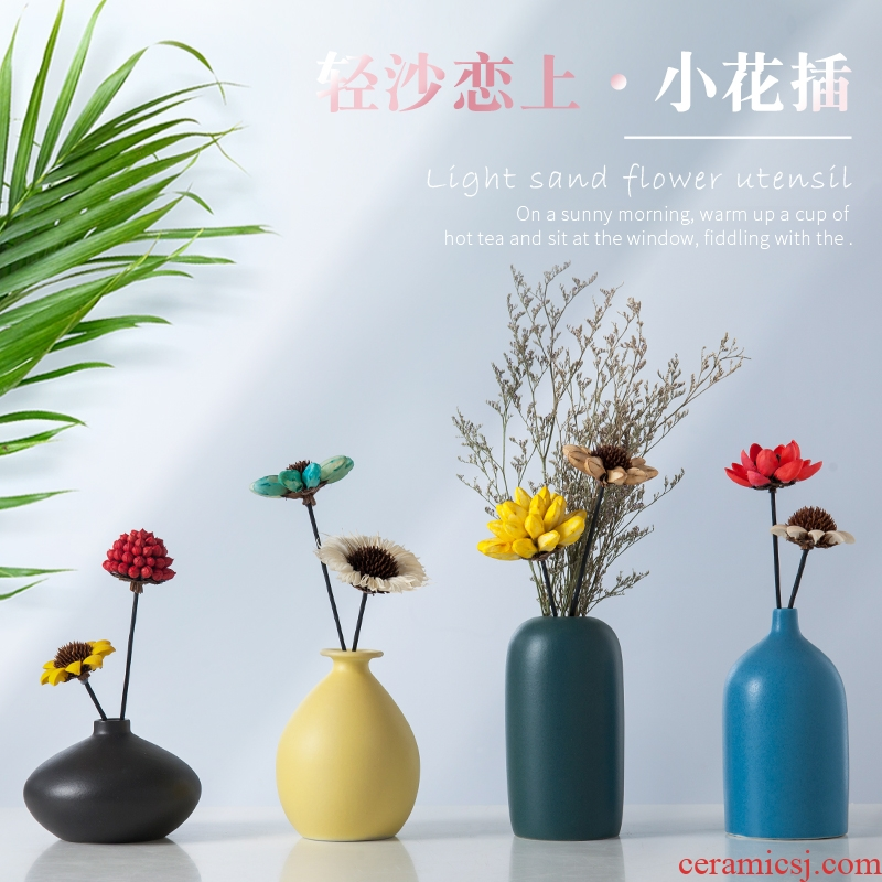 Nordic ceramic vases, flower arranging dried flower creative household adornment bedroom TV cabinet table furnishing articles contracted sitting room
