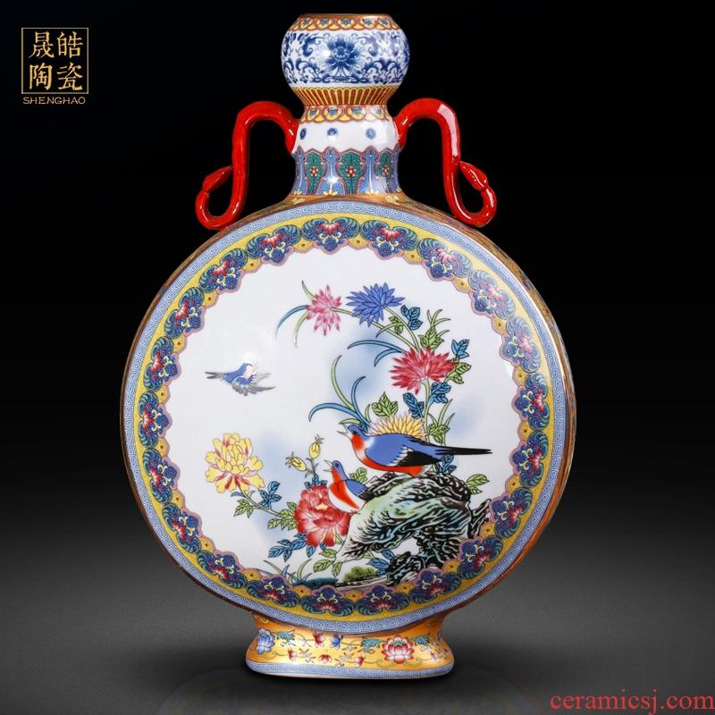 Jingdezhen ceramics vase imitation the qing qianlong ears powder enamel double gut BaoYue bottle imitation antique furnishing articles