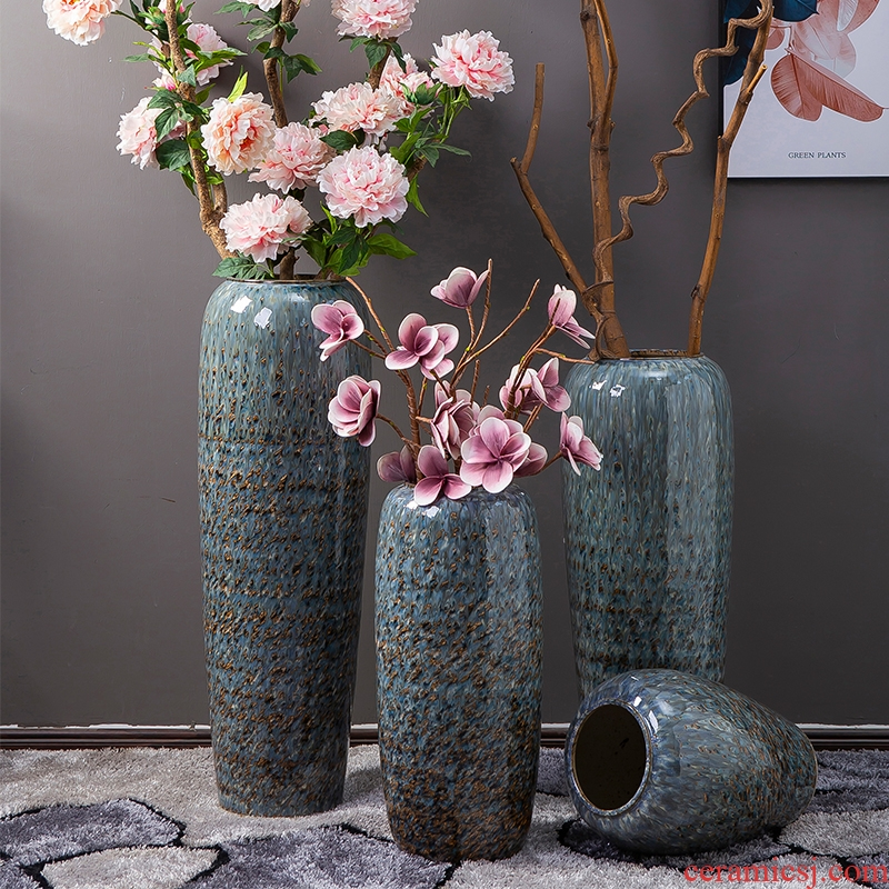 Jingdezhen ground vase sitting room decoration to the hotel company in flower arranging Chinese style porch place large zebra LuHua bottles