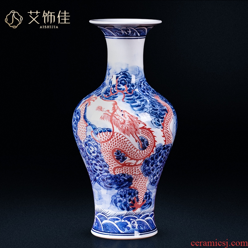 Jingdezhen ceramic antique blue and white porcelain vase youligong red dragon grain home sitting room adornment handicraft furnishing articles study