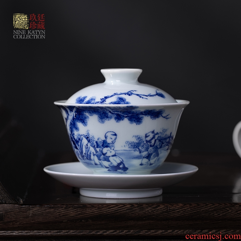 About Nine katyn checking ceramic tureen jingdezhen blue and white only three hand - made single bowl bowl of tea cup small kung fu tea set