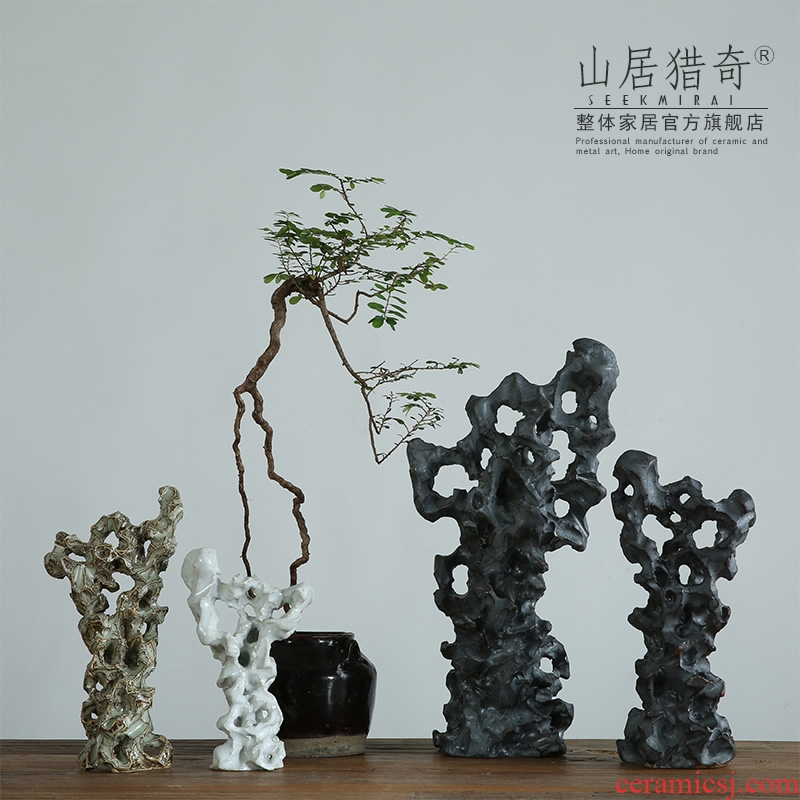 Ceramic taihu stone rockery of new Chinese style household adornment sitting room the rich ancient frame study zen furnishing articles of handicraft