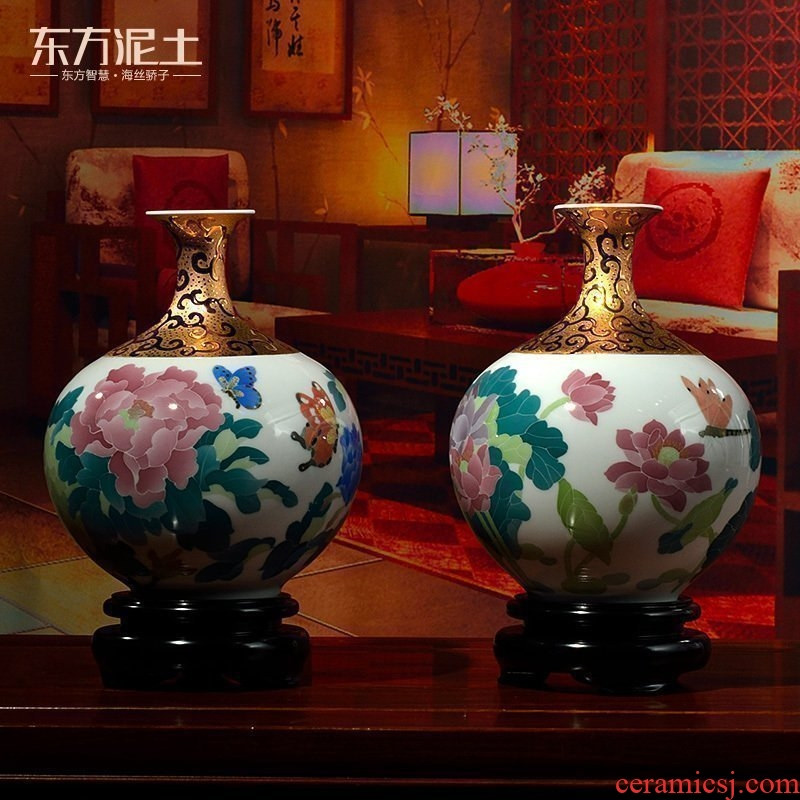 Oriental soil hand - made ceramic vase furnishing articles flower arranging creative Chinese housewarming gift/gold plated small bottle