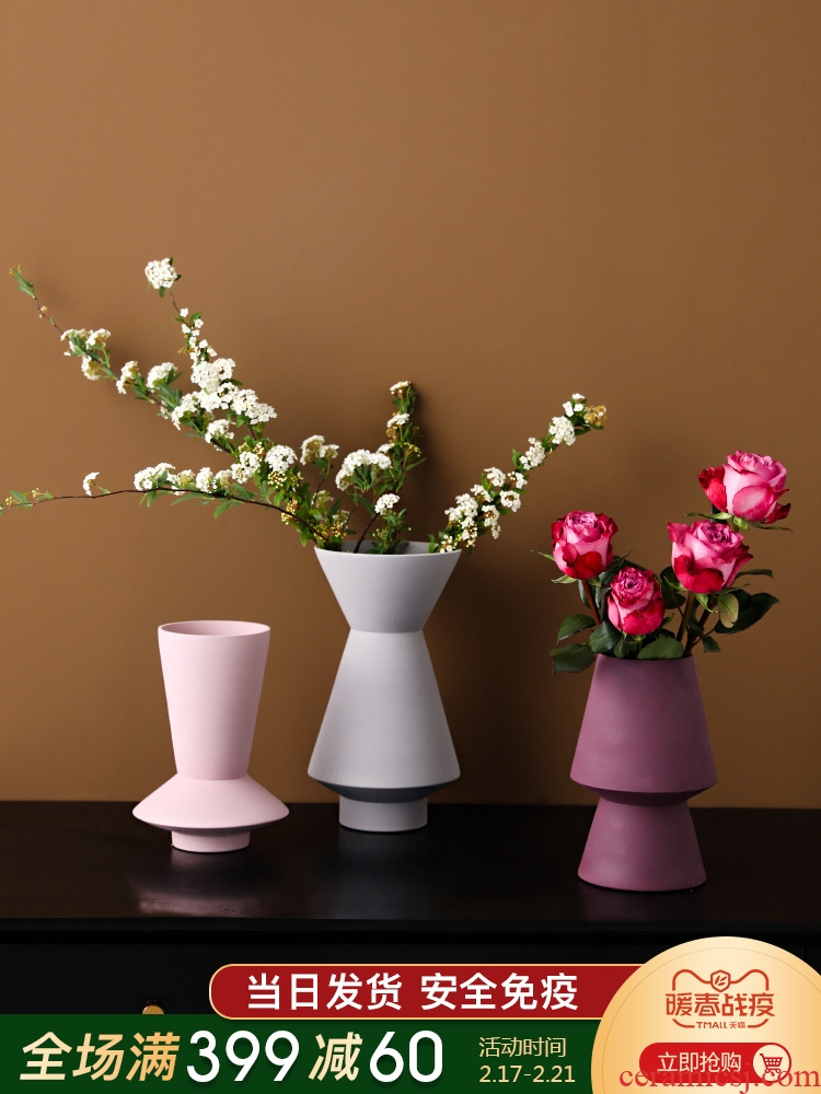 Nordic ins wind soft outfit furnishing articles ceramic vases, flower arrangement sitting room adornment example room frosted flower implement hydroponic flowers