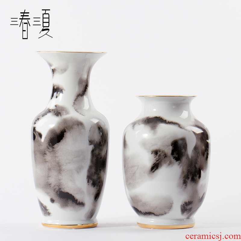The New Chinese ink painting ceramic general storage tank can of floral outraged furnishing articles example room hotel in the sitting room porch soft decoration