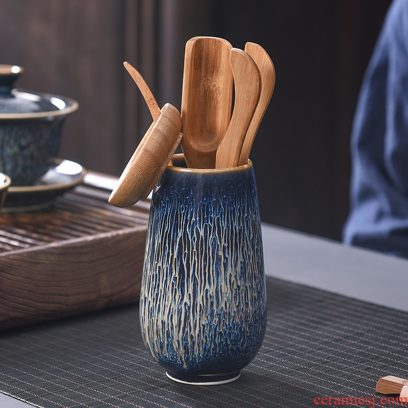 A good laugh, jingdezhen obsidian blue drawing light tea six gentleman home inlaid with silver wire drawing star light tea taking