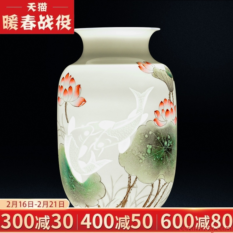 Jingdezhen ceramics masters hand - made thin body rich ancient frame vase sitting room flower arranging study office decoration furnishing articles