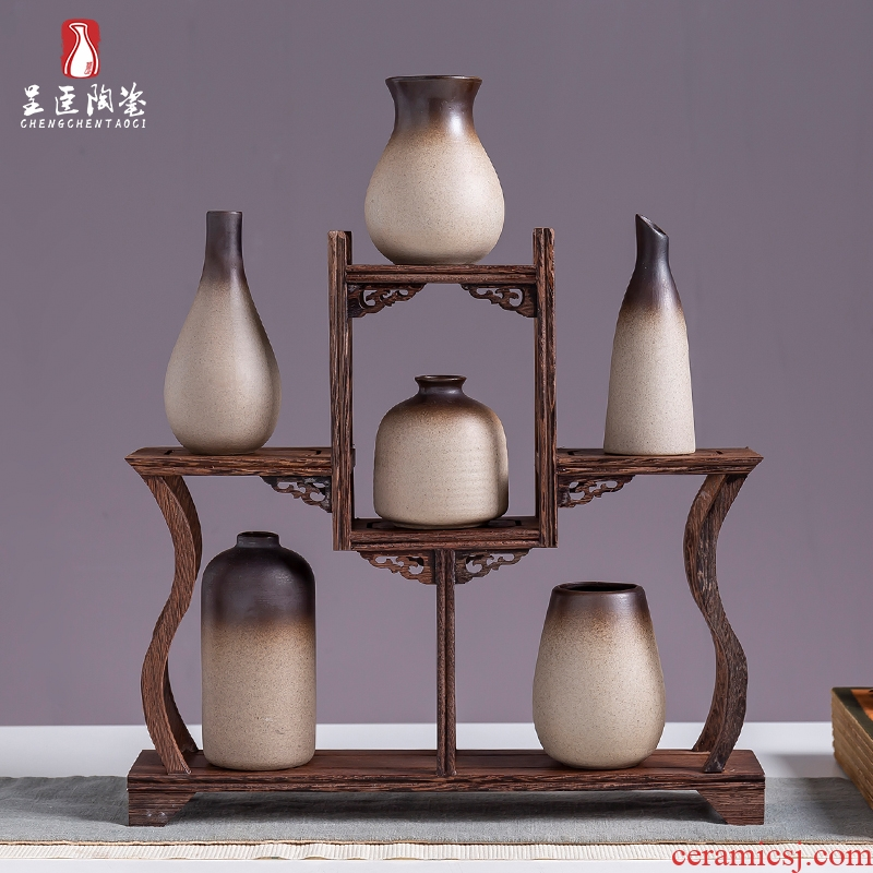 Jingdezhen retro nostalgia ceramic vase decoration porch desk living room TV cabinet office table flower arranging furnishing articles