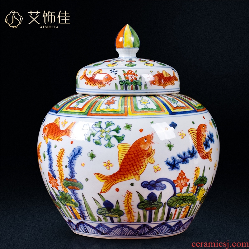 Jingdezhen ceramic antique blue - and - white, colorful fish and algae grain caddy fixings storage tank house sitting room study collect furnishing articles
