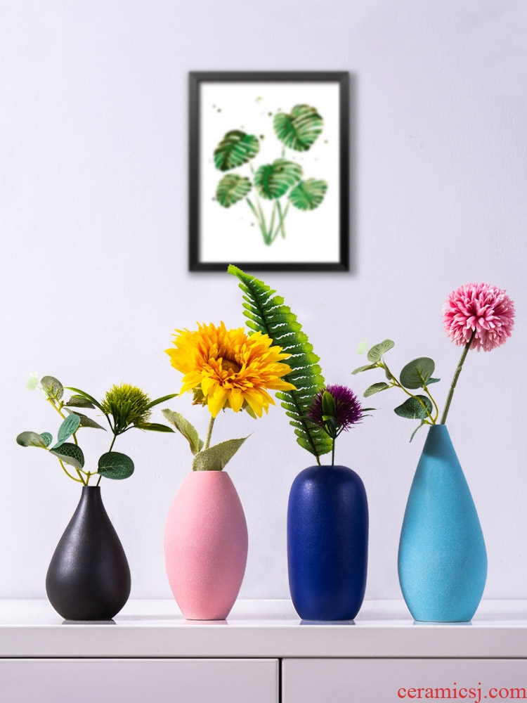 I and contracted ceramic small pure and fresh and dried flower vase flower implement creative home sitting room flower arrangement table decorations furnishing articles