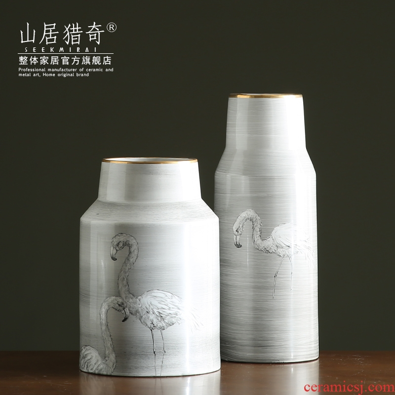 Nordic ins grey wiredrawing hand - made flamingos ceramic vases, large flower arrangement home home furnishing articles
