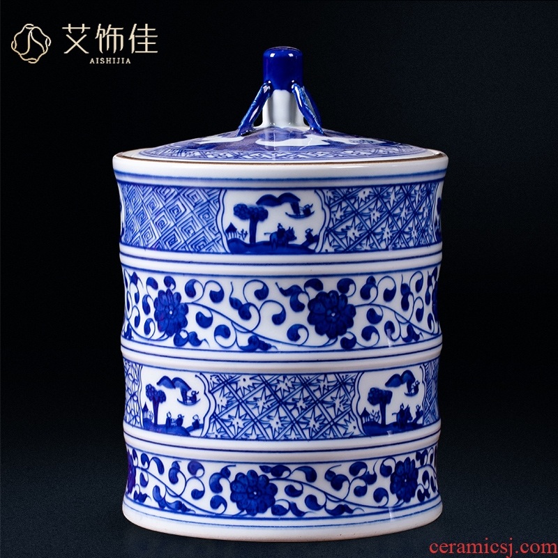 Blue and white porcelain of jingdezhen ceramics storage tank with cover caddy fixings archaize sitting room of Chinese style household TV ark, furnishing articles