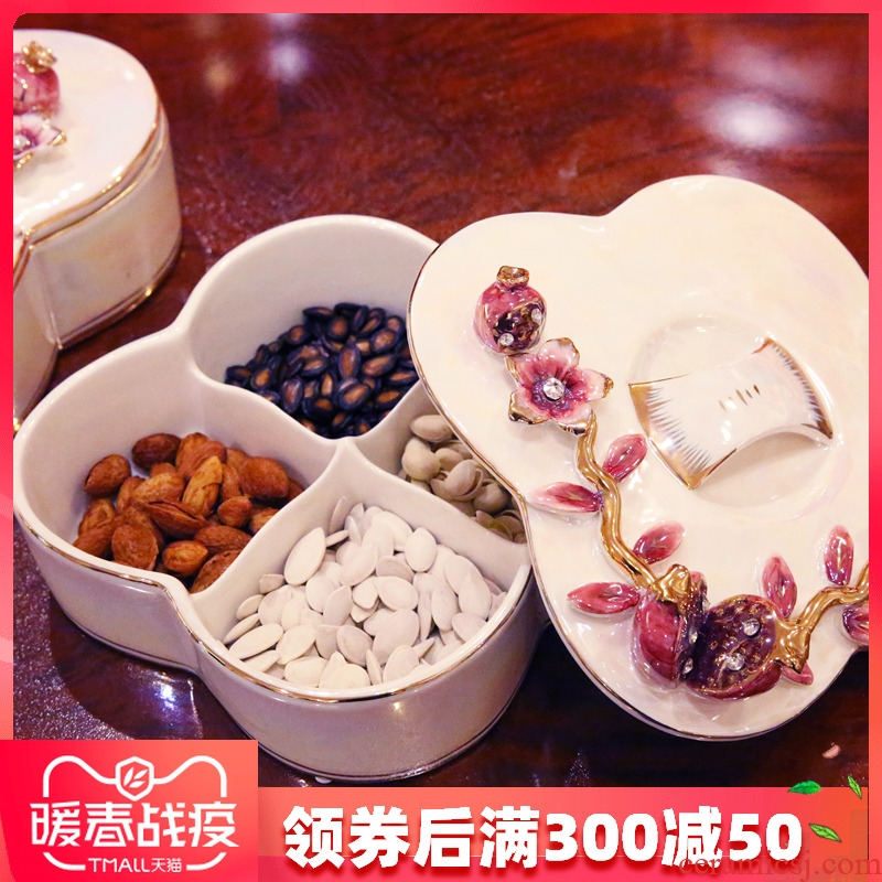 European ceramic creative fashion dried fruit dried fruit tray box frame with cover multi - purpose wedding candy dish of fruit