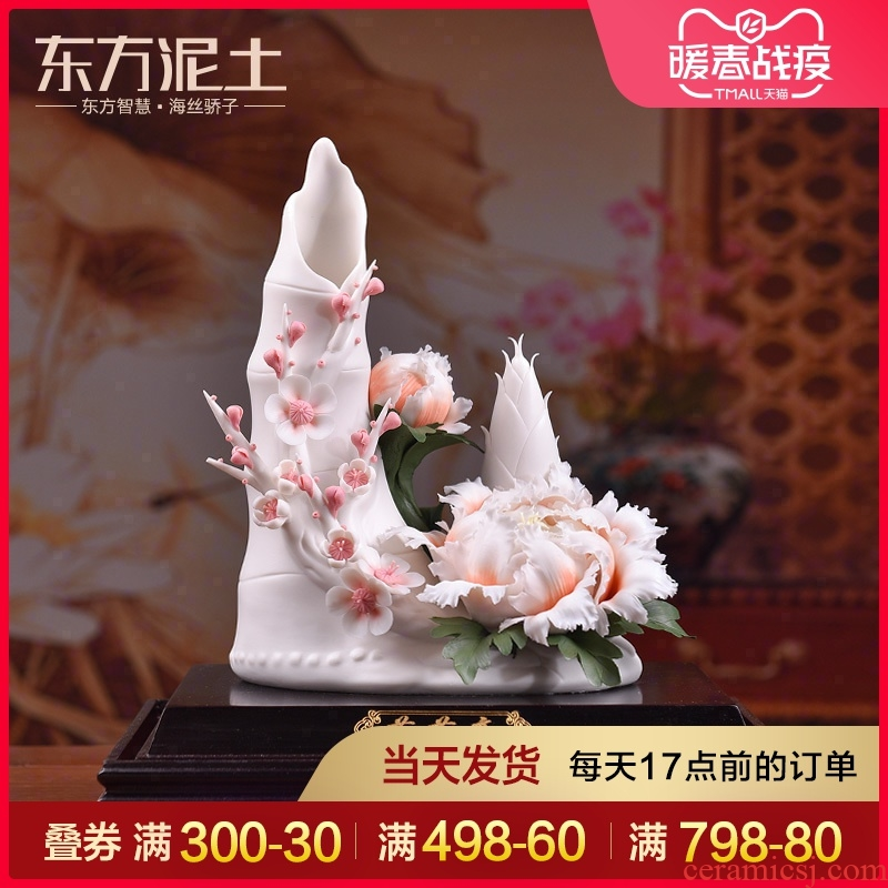 Oriental clay ceramic flower its art of Chinese style living room decorate gifts furnishing articles/high D51-14