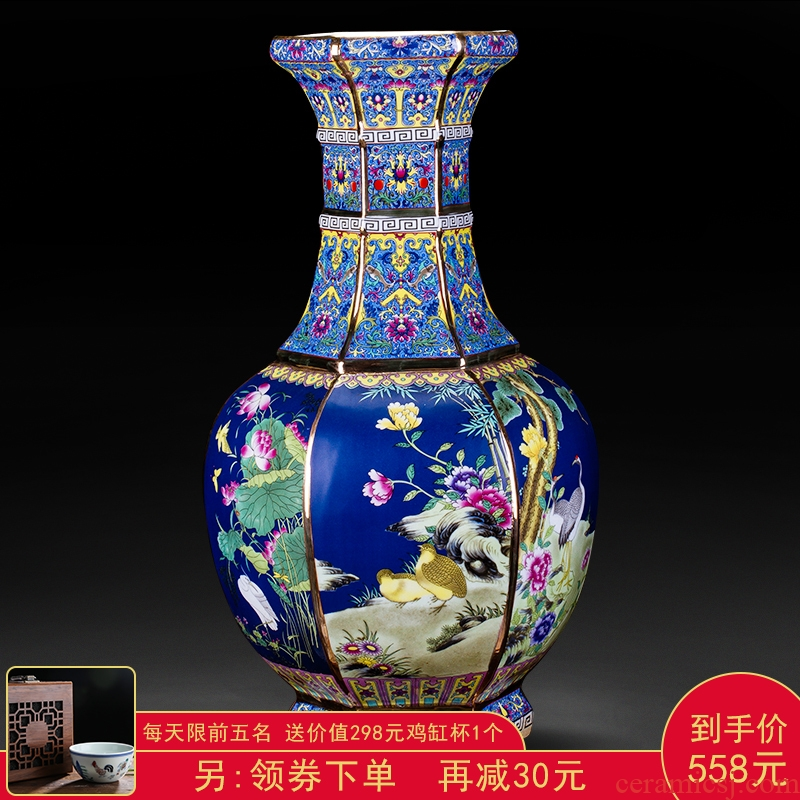 Jingdezhen ceramics antique vase furnishing articles sitting room flower arranging new Chinese style classical large home decoration collection