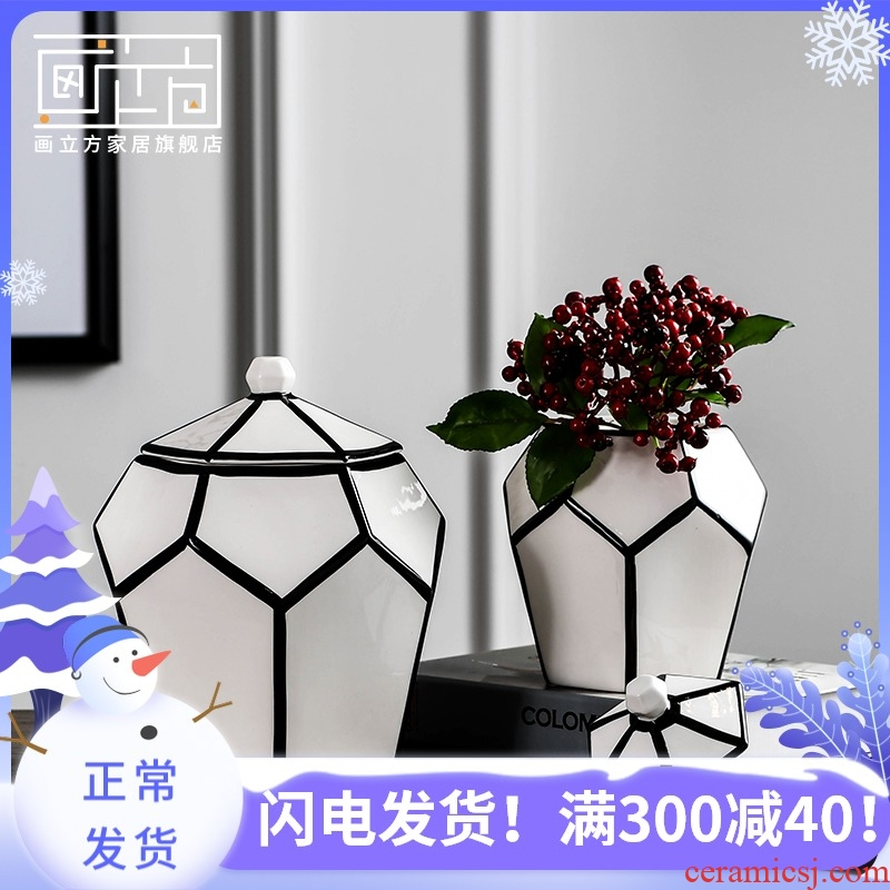 Painting cube storage tank ceramics from boreal Europe style is contracted sitting room place dry flower vases, modern home decoration