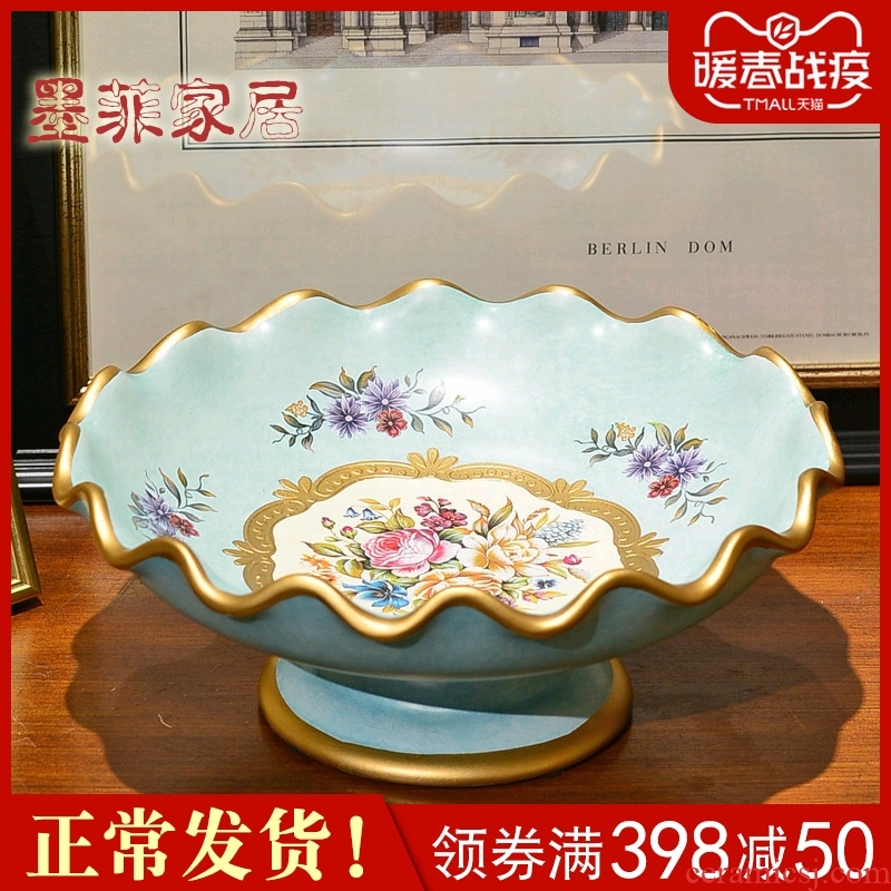 American European - style key-2 luxury ceramic big fruit tray was the new Chinese style household decorates sitting room tea table furnishing articles fruit bowl dried fruit tray
