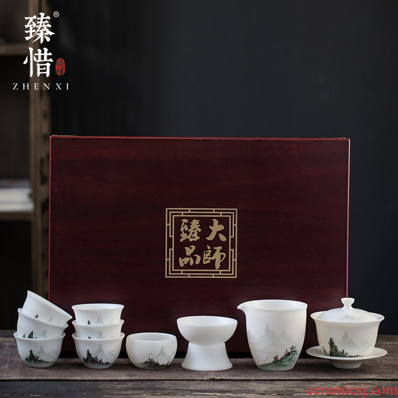 Become precious little hand - made aoyama, abbreviation suet jade white porcelain high - end kung fu tea set suits for domestic cups tureen gift box
