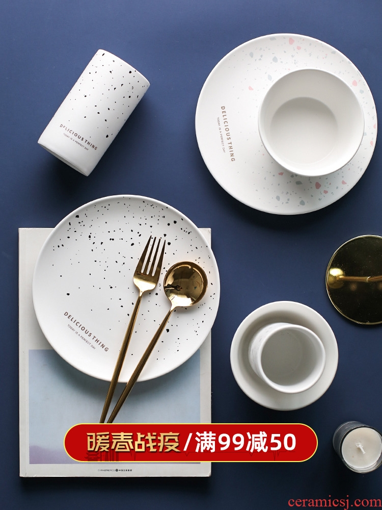In northern sichuan ins colors on ceramic tableware plate household jobs steak plate plate western food plate of A - 61