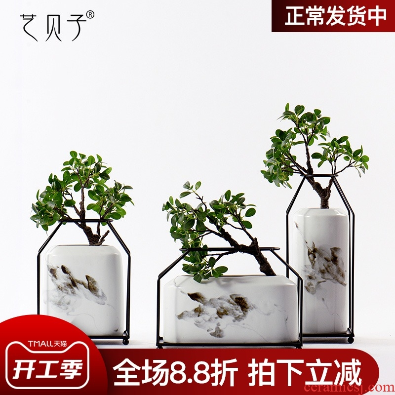 The New Chinese ink painting art BeiZi ceramic flower implement soft furnishing articles example room adornment club house sitting room porch decoration