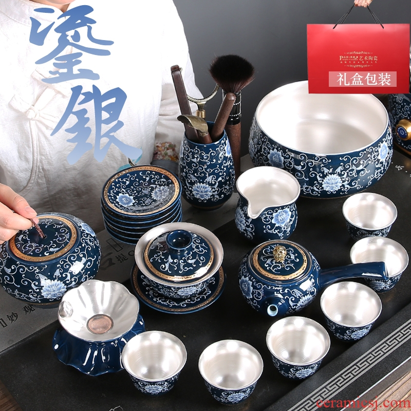 Ceramic kung fu tea set suit household jingdezhen blue and white porcelain tea set the whole mine loader 999 sterling silver cup teapot
