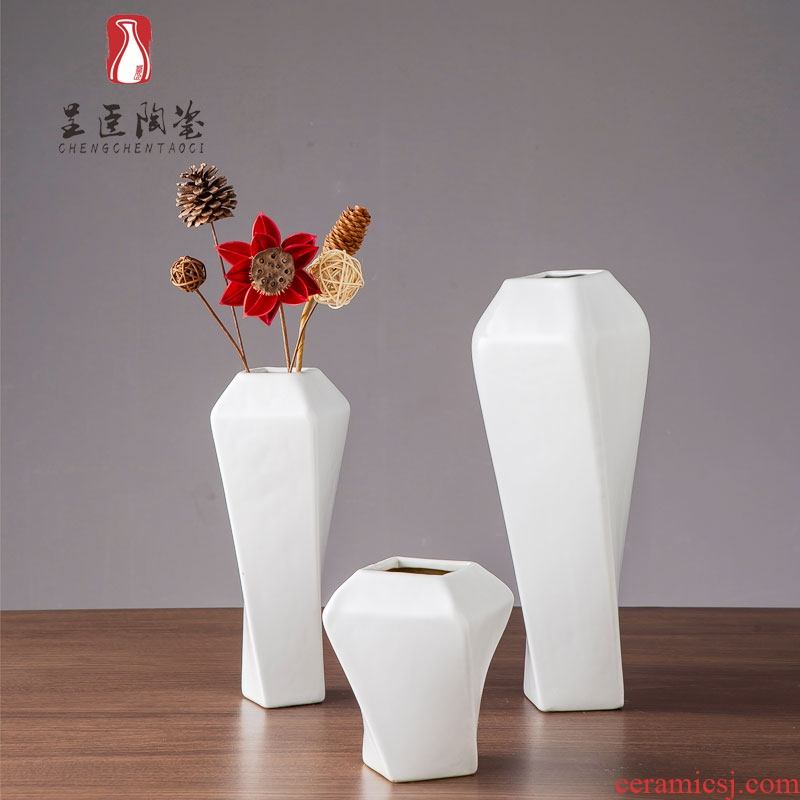 Jingdezhen ceramic vase contracted white I sitting room desk flower arranging furnishing articles zen decorative dried flower vase