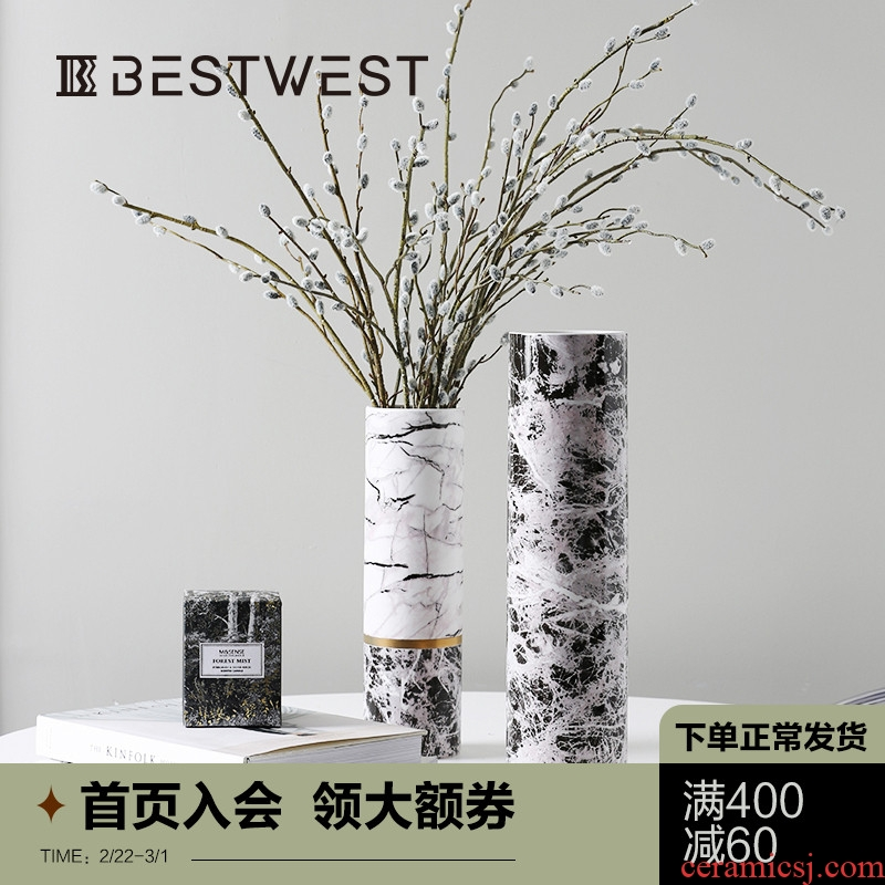 Designer vase furnishing articles insert ceramic vase example room soft light sitting room of large vase decoration key-2 luxury ornament