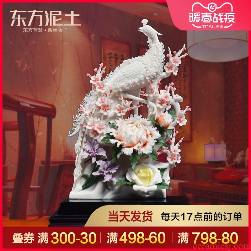 Oriental clay ceramic flower place, a new Chinese style into the sitting room porch decoration decoration/red phoenix in morning sun
