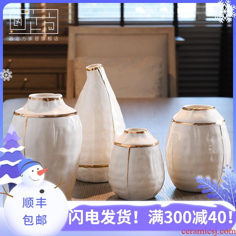 Ceramic cubic European vase large sitting room flower arranging dried flower vase creative I household adornment furnishing articles
